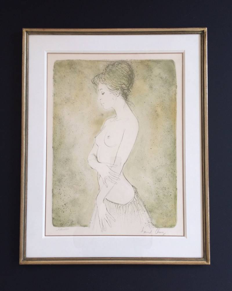 "Original Art Lithograph ""Naked Lady with Skirt"" by Bernard Chang 1970's"