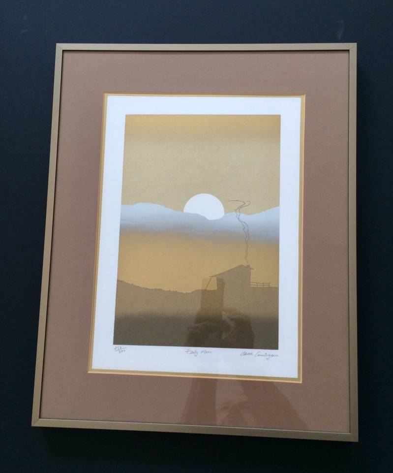 "Original Art Lithograph print ""Early Morn"" by Cleave Cunningham 1980's"