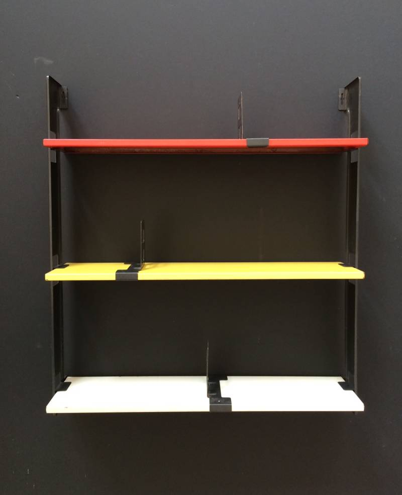 Vintage Pocket Series Metal Wall Shelves by Tomado, Holland 1960's