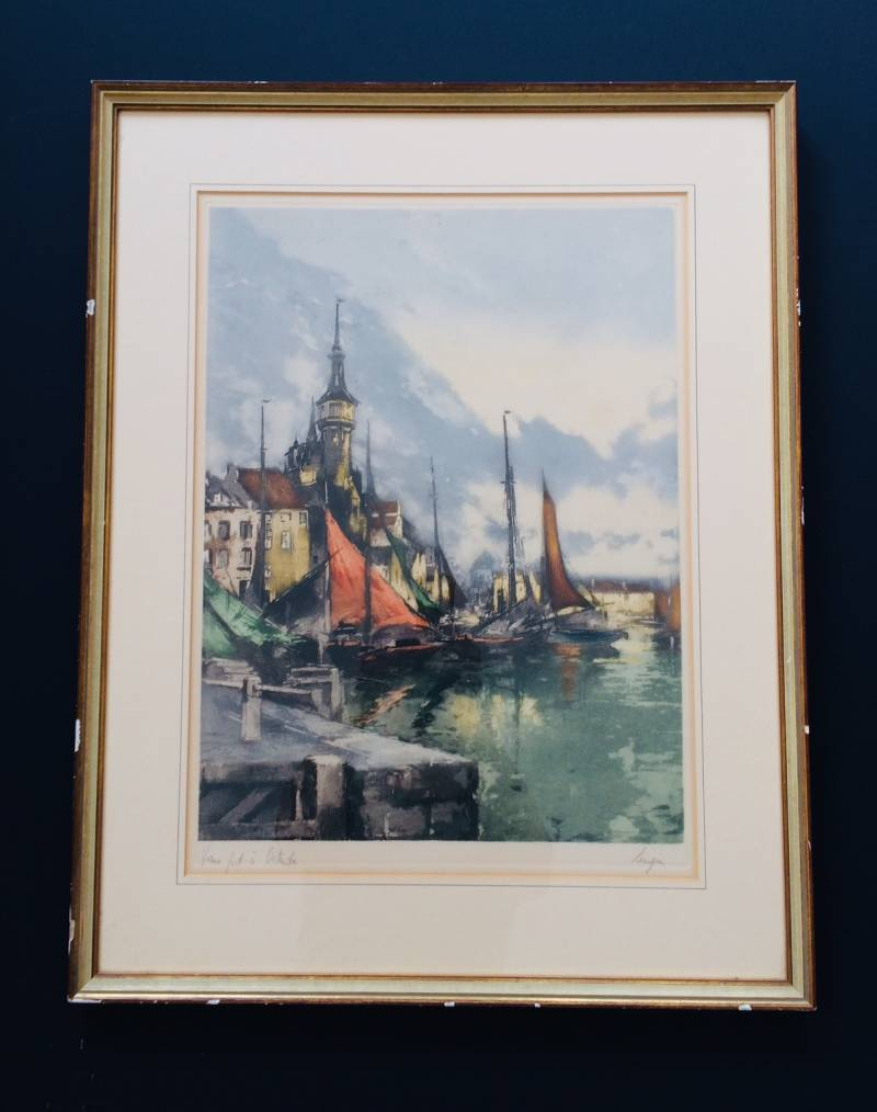 Original Color Etching Art Print by F.J. Luigini 'Vieux Port à Ostende' Early 1900's