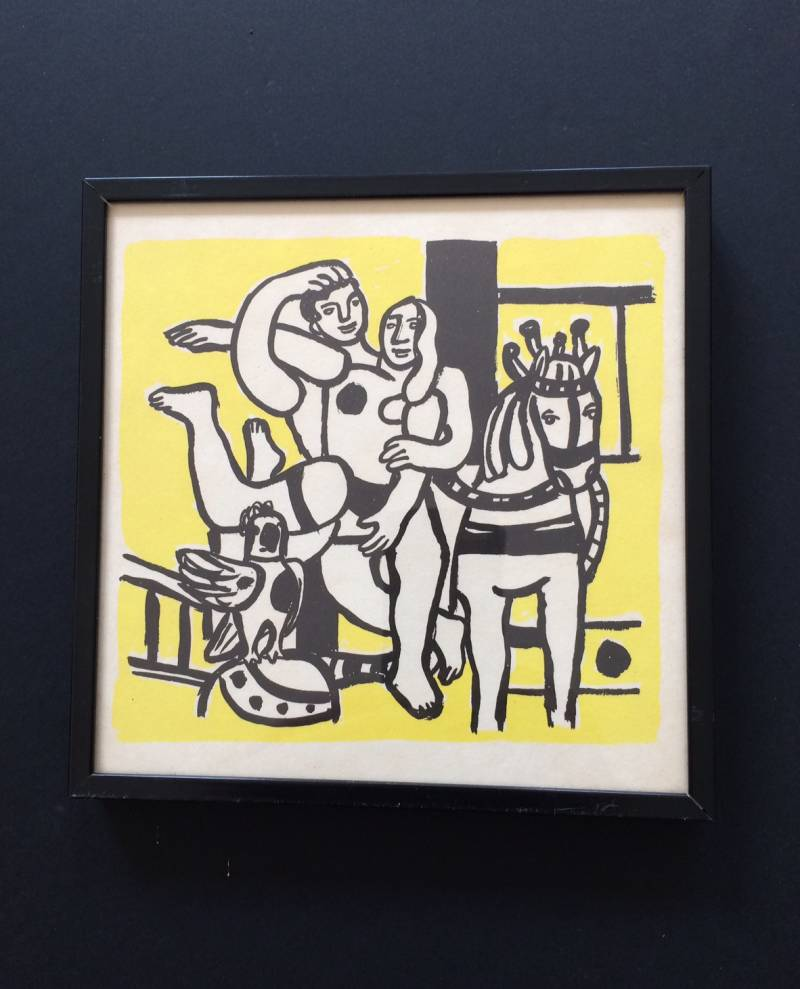 "Original Lithograph Art print ""The yellow Circus"" by Fernand Leger 1960's"