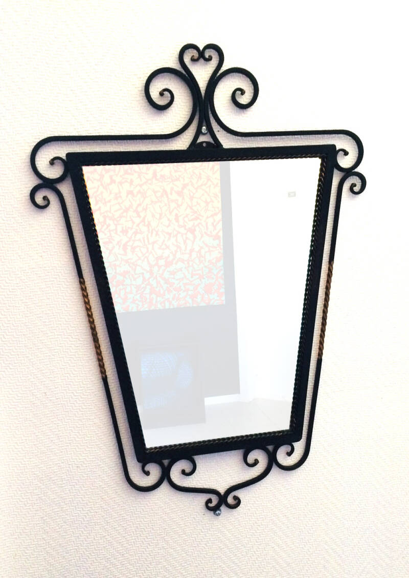 Vintage 1950's Road Iron Black & Gold trim Mirror 2