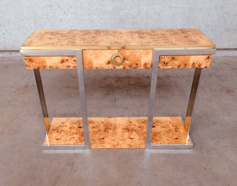 Hollywood Regency Exceptional Console by Willy Rizzo for Mario Sabot, 1970's Italy