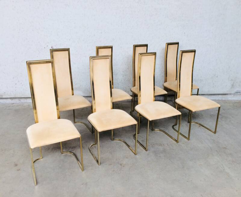 Hollywood Regency Design set of 8 Dining Chairs by Belgo Chrom 1970's