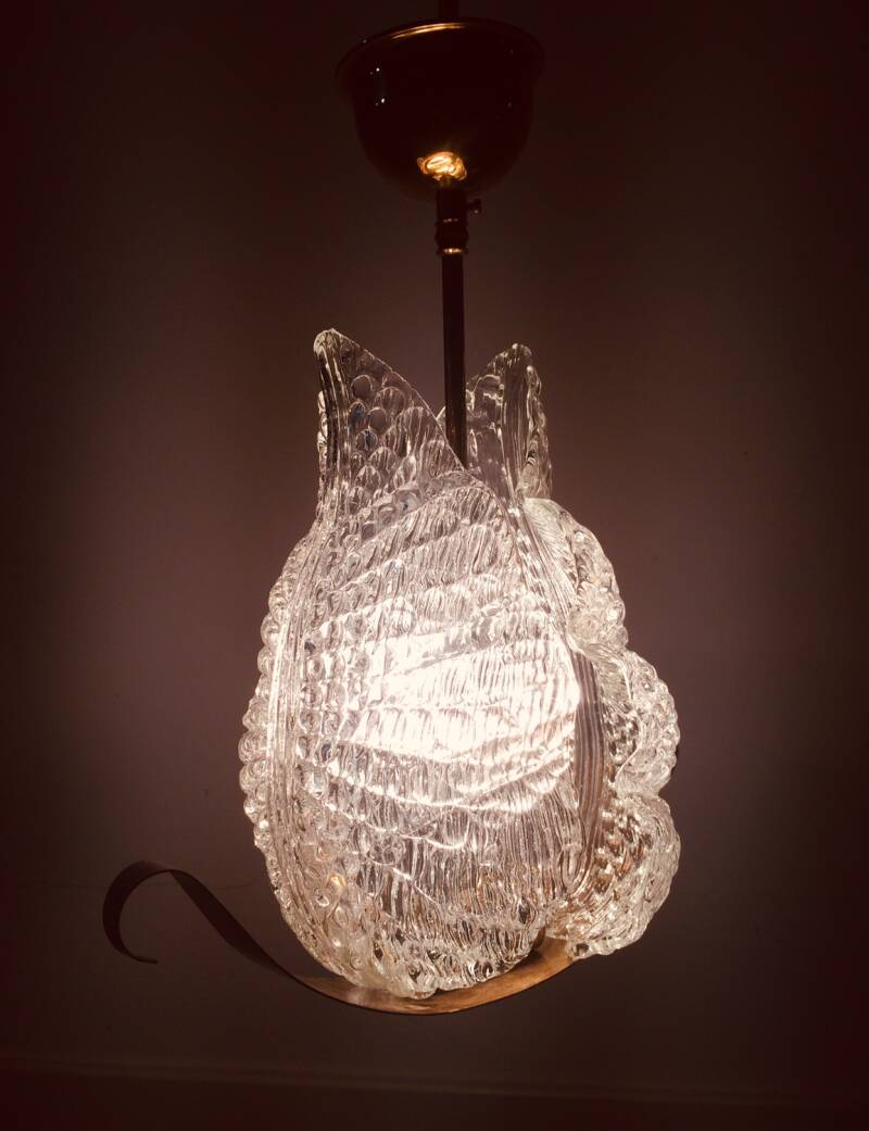 Barovier & Toso Glass Leaf Pendant Lamp 1950's Murano Italy
