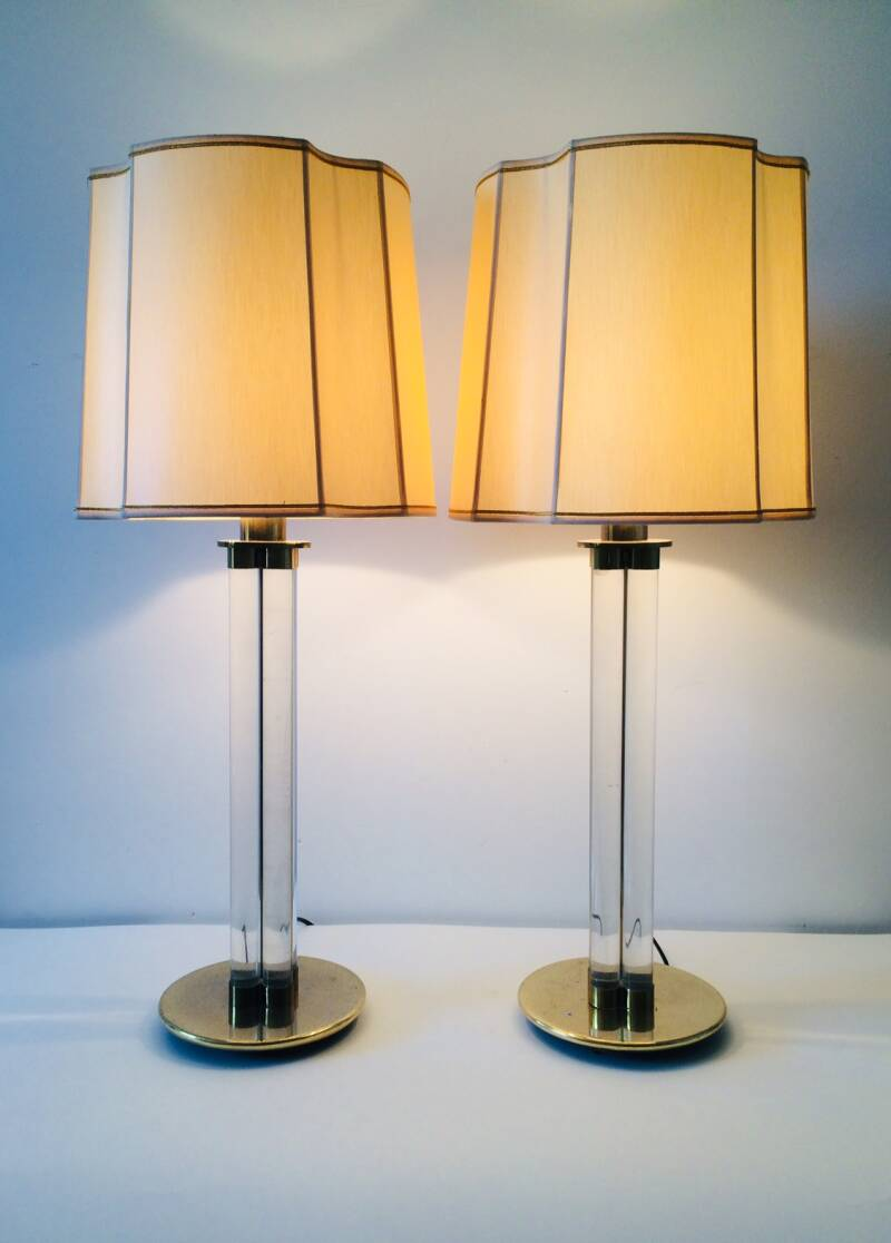 Hollywood Regency Style large table lamp set of 2 Lucite & Brass 1970's France