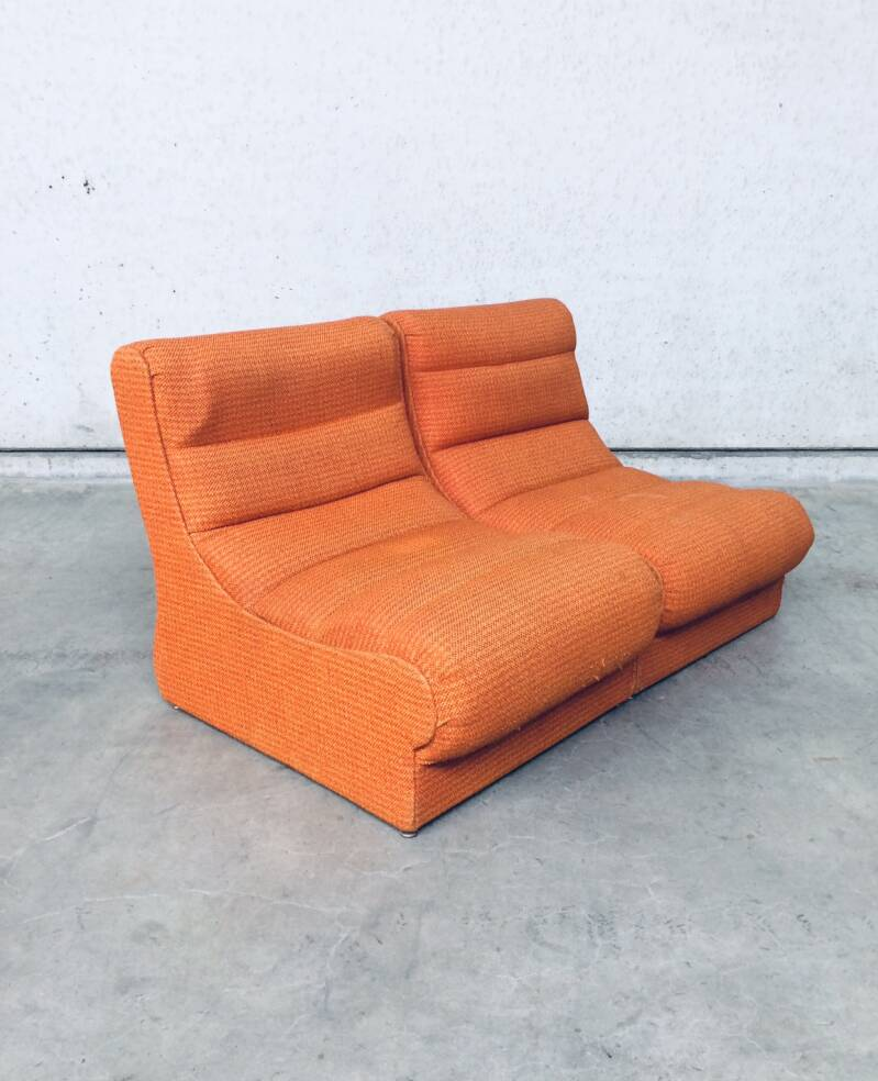 Midcentury Modern Design 2 Modular Sofa Seats in orange, 1960's