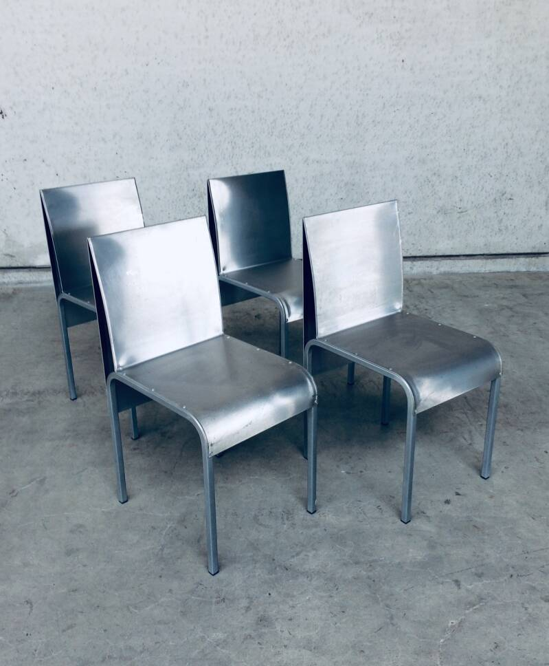 Postmodern Industrial Design Set of 4 Aluminium Metal Chairs 1990's Belgium