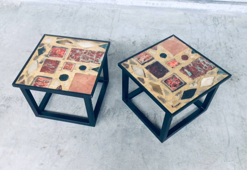 1970's Midcentury Modern Design Black Frame w Gold inlay Side Table set of 2