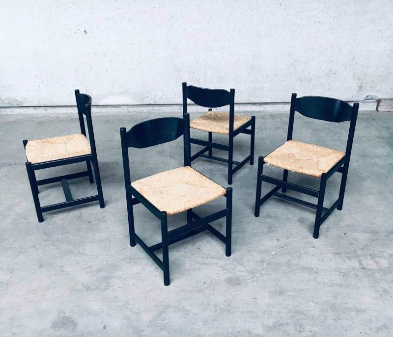 1970's Design Black Stained Wood & Paper Cord Dining Chair set