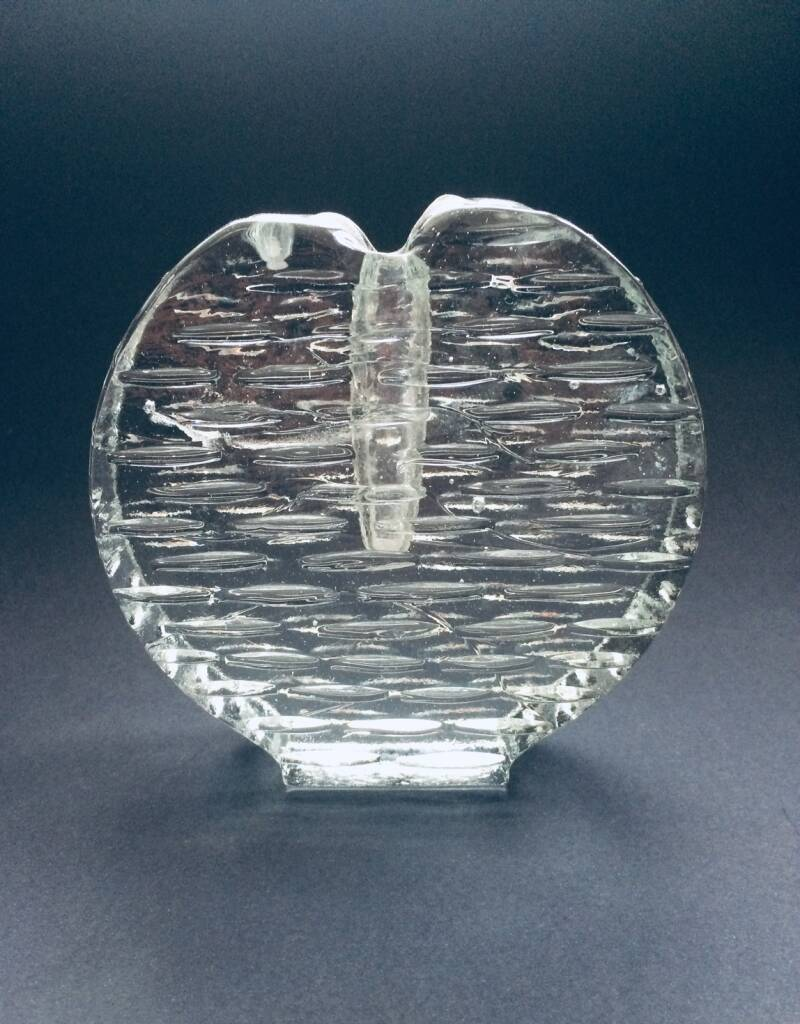 Vintage Scandinavian Design Art Glass Candle Holder 1970's Finland