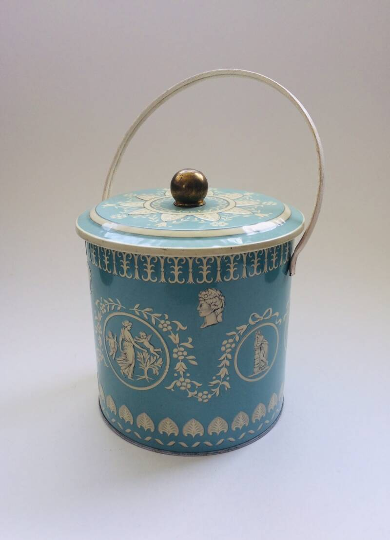 Vintage Mathot-Vanhoffelen Tin Metal Container in Classical Roman Style 1960's