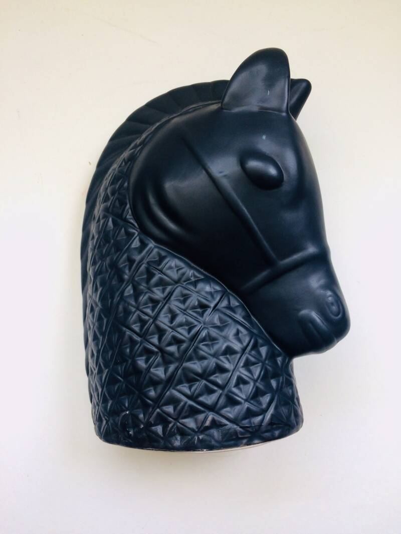 Midcentury Modern Design Art Pottery Ceramic black matt Horse Head 1970's