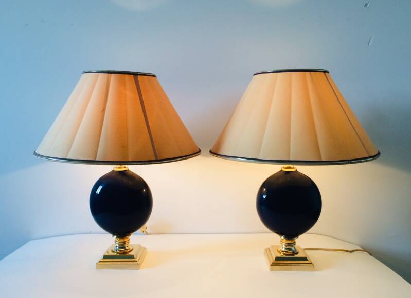 Hollywood Regency Style set of 2 Blue Stone Design Table Lamps 1970's France