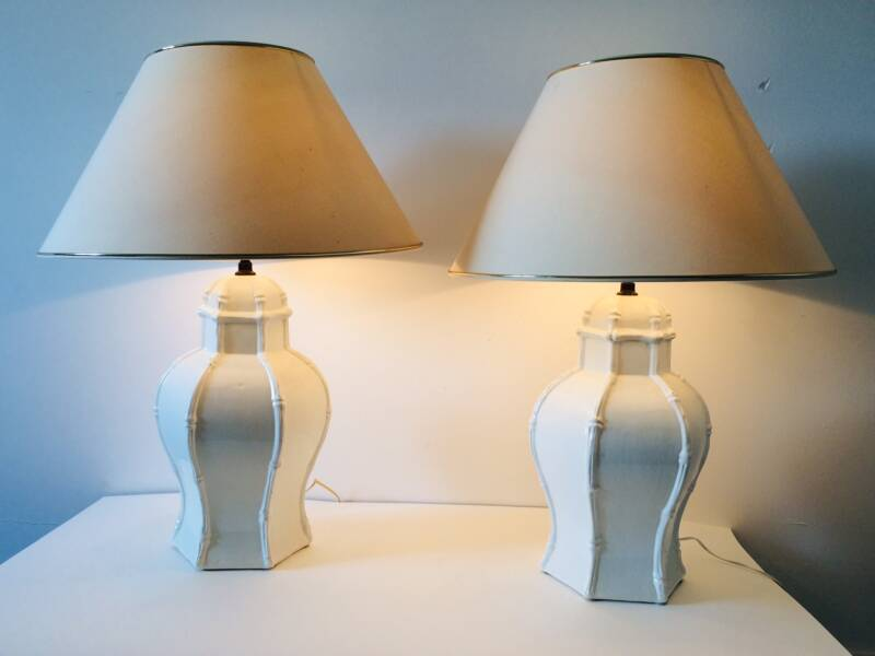 Deco White Ceramic Table Lamp Set of 2 by Casa Fina Spain 1970's