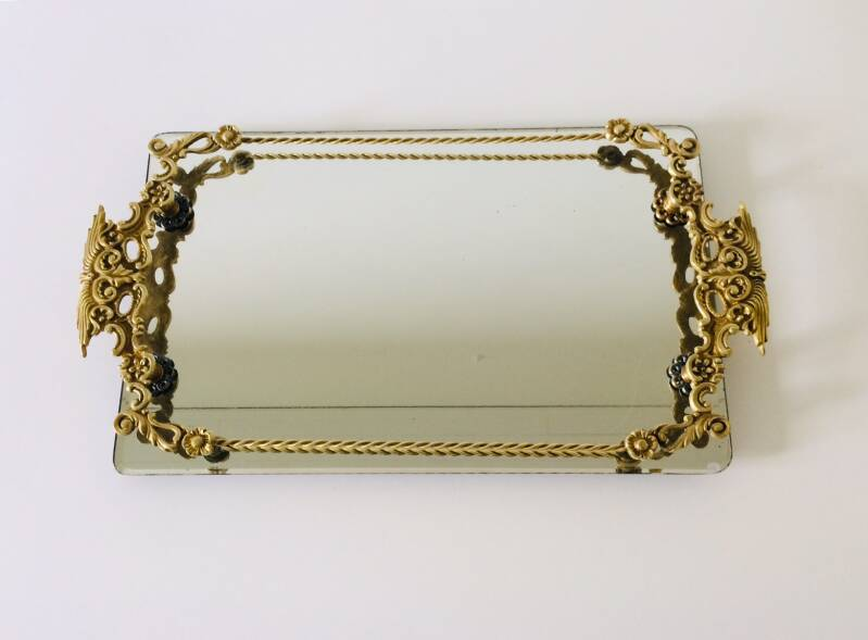 French Regency Serving Tray in Brass with mirror glass 1950's France