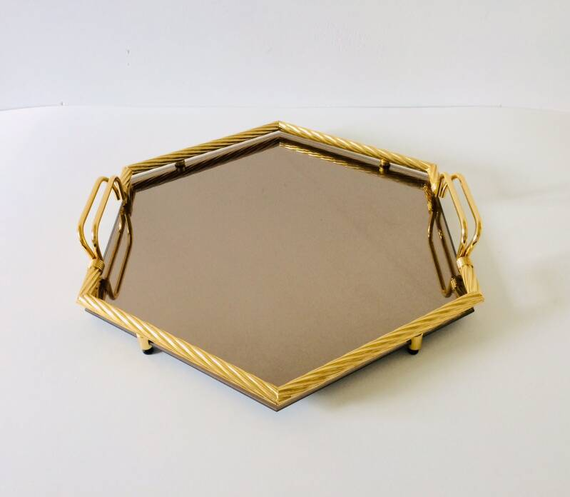 Hollywood Regency Style Hexagon Serving Tray in Brass & Mirror Glass, Italy 1970's