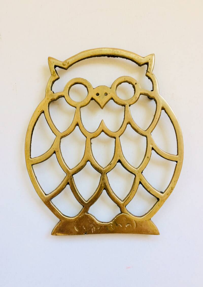 Hollywood Regency Style Brass Owl Coaster 1970's