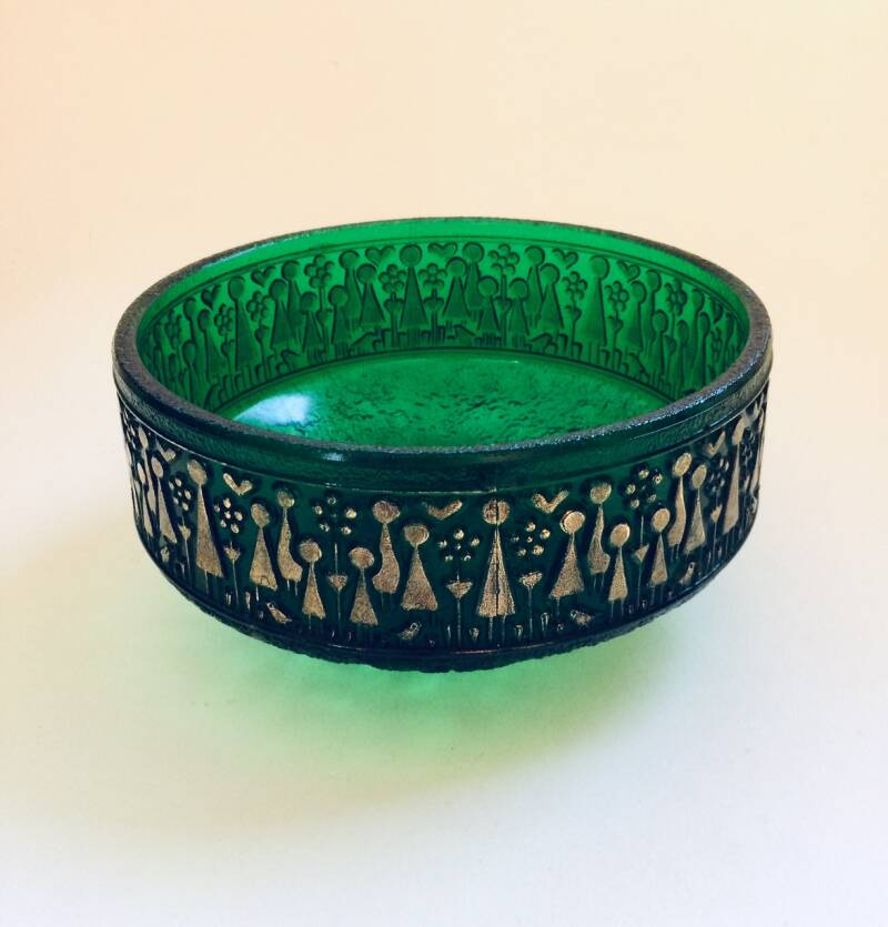 Scandinavian Design Green Ice Glass Bowl with Gold figures 1960's Sweden