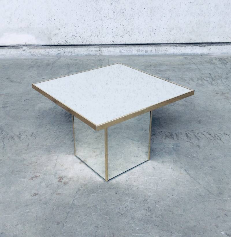 Hollywood Regency Style Design Square Mirror Side Table 1970's