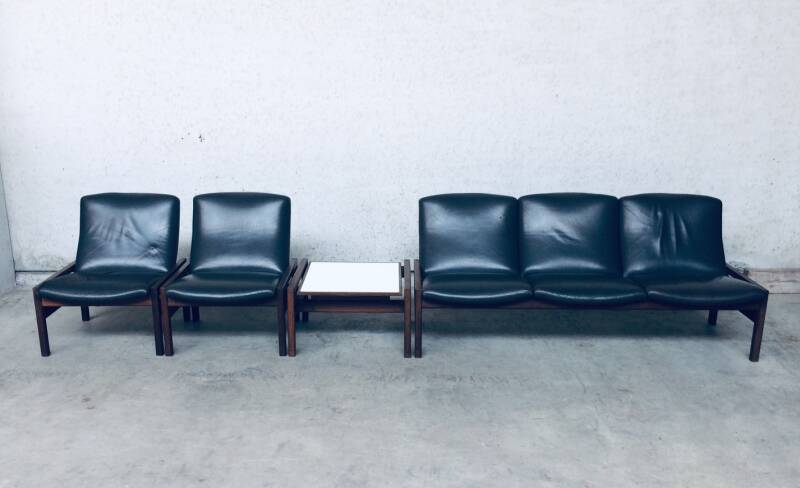 Modular Sitting Group 3 Seat Sofa, Side Table & 2 Lounge Chairs by Georges Van Rijck for Beaufort, 1960's