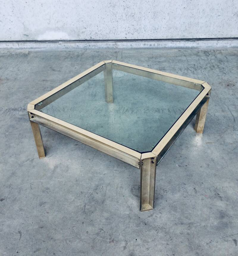 Peter Ghyczy Design Brass & Glass Square Coffee table 1970's