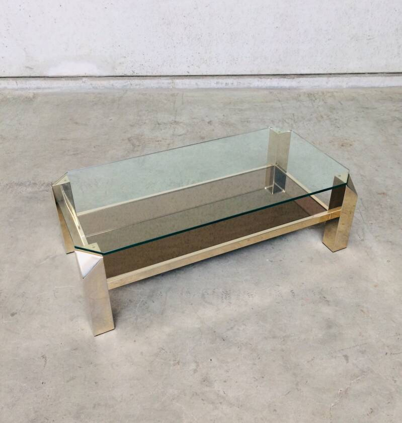 Modernist Design 120x60 Gold Coffee table by Belgochrom 1970's Belgium