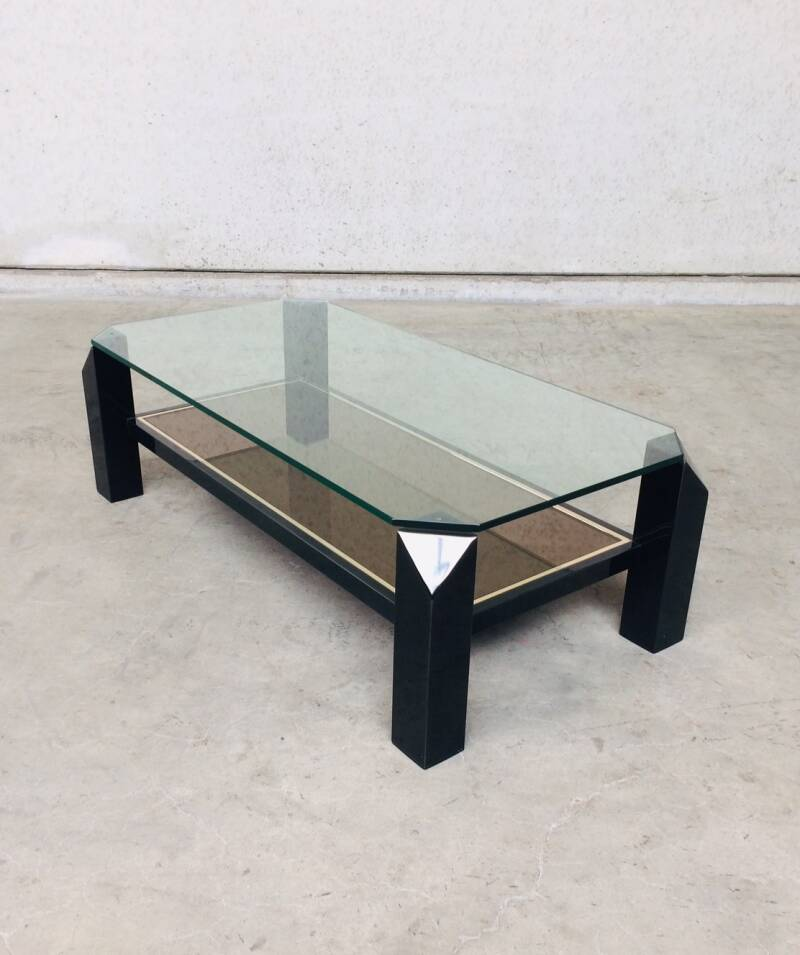Modernist Design 120x60 Black Coffee table by Belgochrom 1970's Belgium