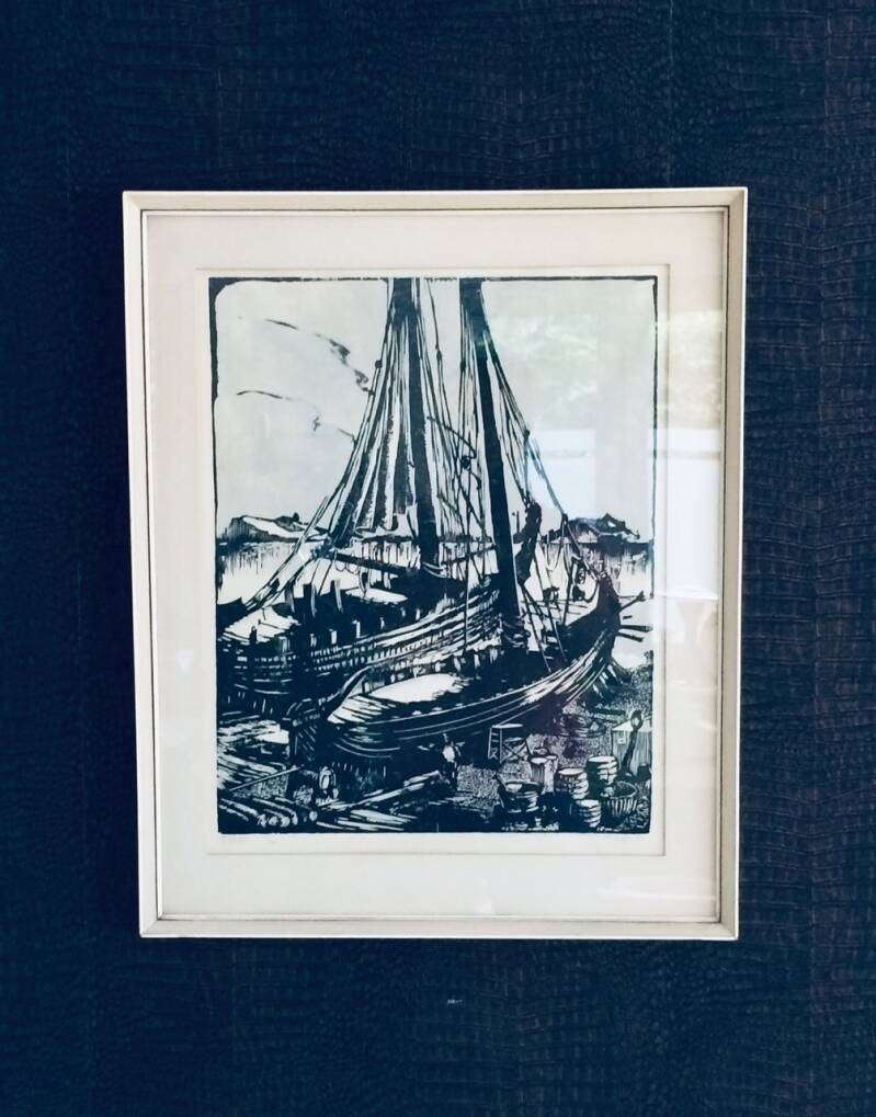 "Original Rein Snapper Art Wood Print ""Dutch Harbor"" 1967"