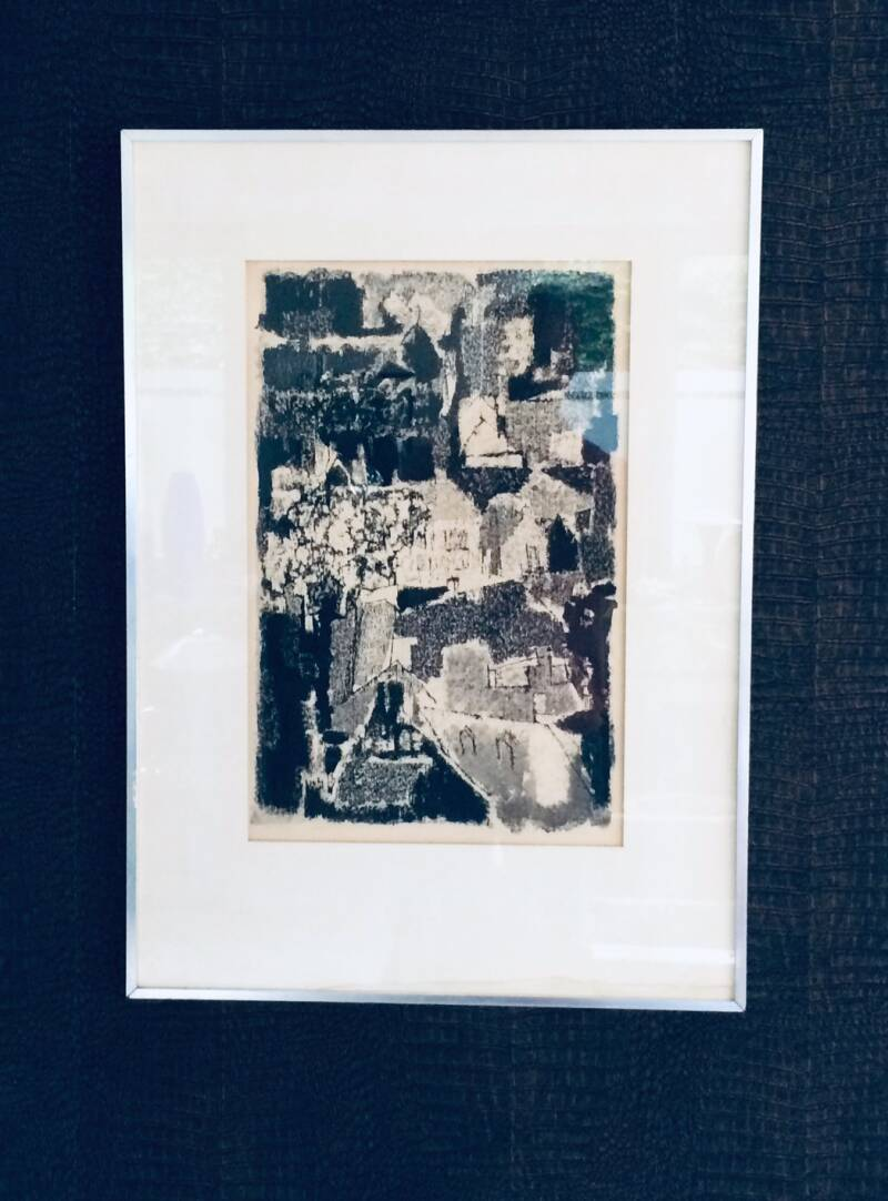 Original Art Litho Print Abstract Village View 1960's Unknown