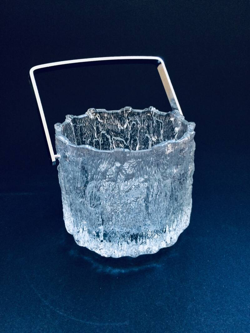 Vintage Finnish Design Bark structured Glass Ice Bucket 1970's Iittala