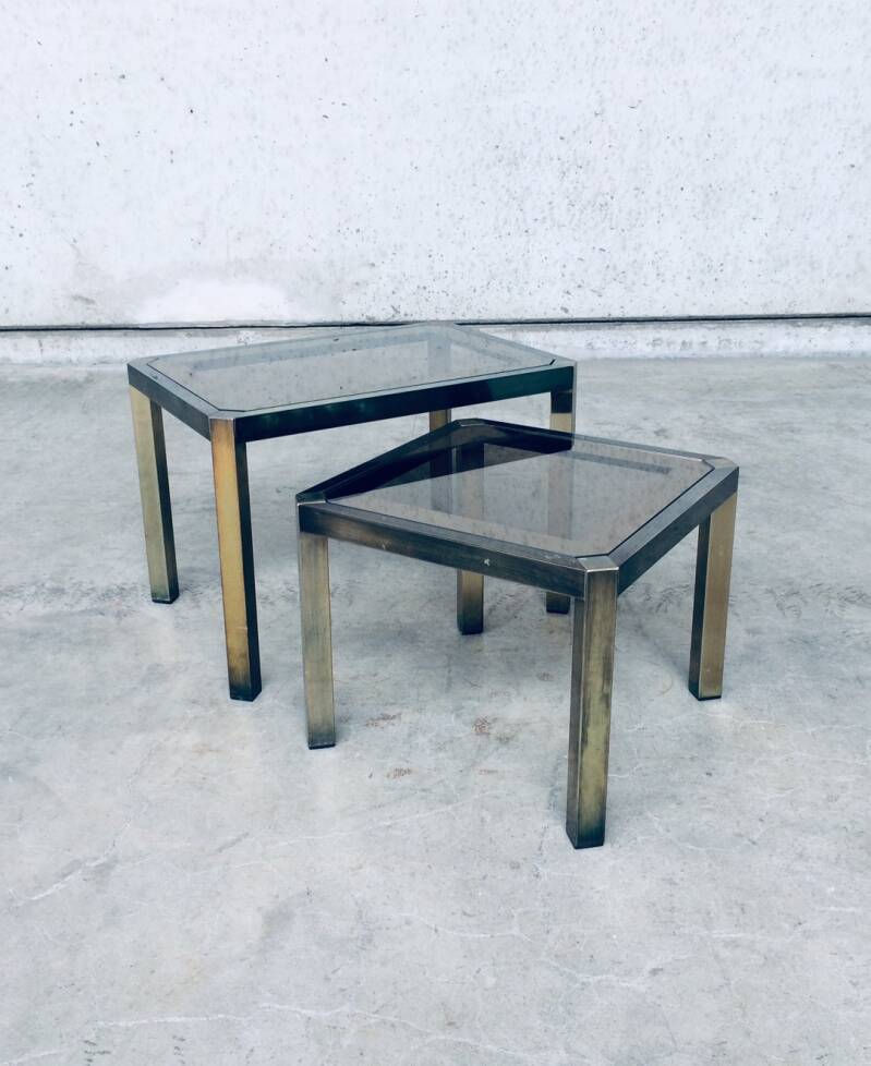 Hollywood Regency Style Set of 2 Nesting Tables by Fedam, Holland 1970's