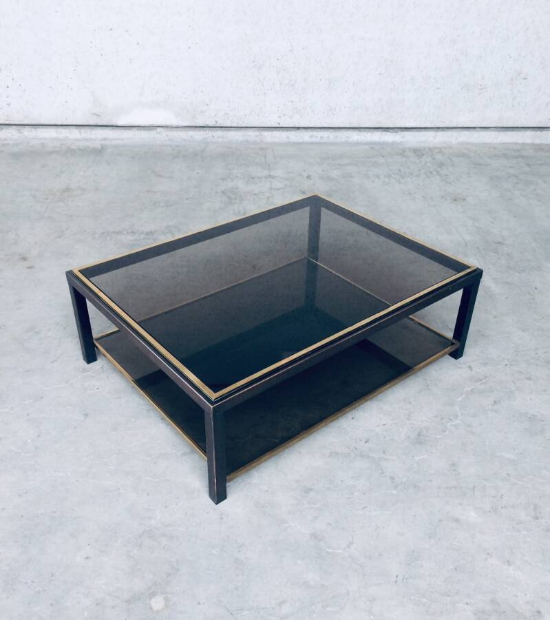 Two-Tier Glass Coffee Table in Brass & Copper Metal by Willy Rizzo, 1970's