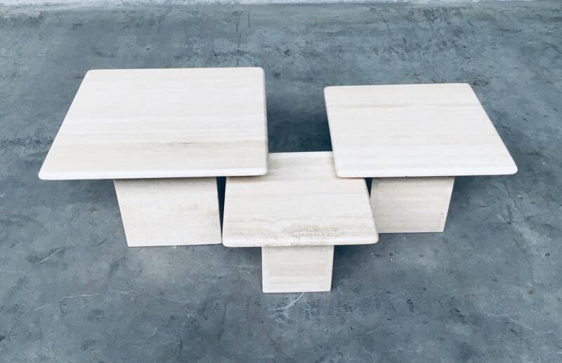 Italian Design Set of 3 Square Travertine Side Tables 1970's