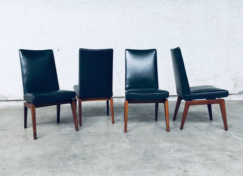 Midcentury Modern Design Set of 4 Office Chairs, Belgium 1950's