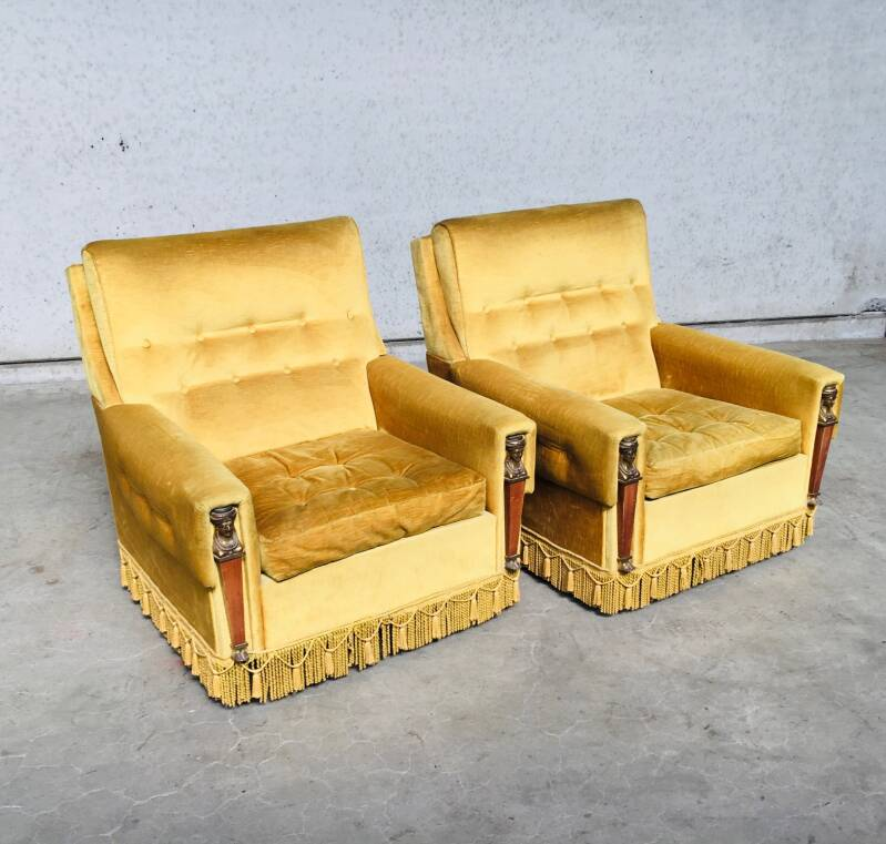 Midcentury Empire Style set of 2 Gold Velvet Arm Chairs 1950's France