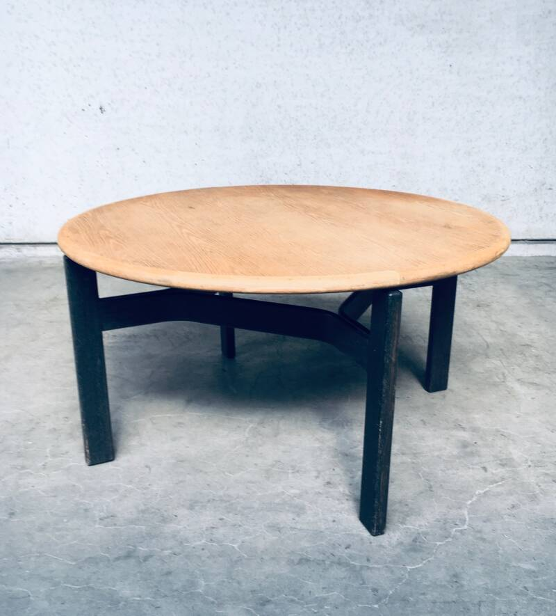 Midcentury Modern Scandinavian Design Round Wooden Dining Table, 1970's