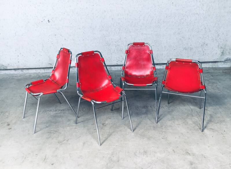 Dining Chairs Selected by Charlotte Perriand for Les Arcs set of 4, Dal Vera Italy 1960's