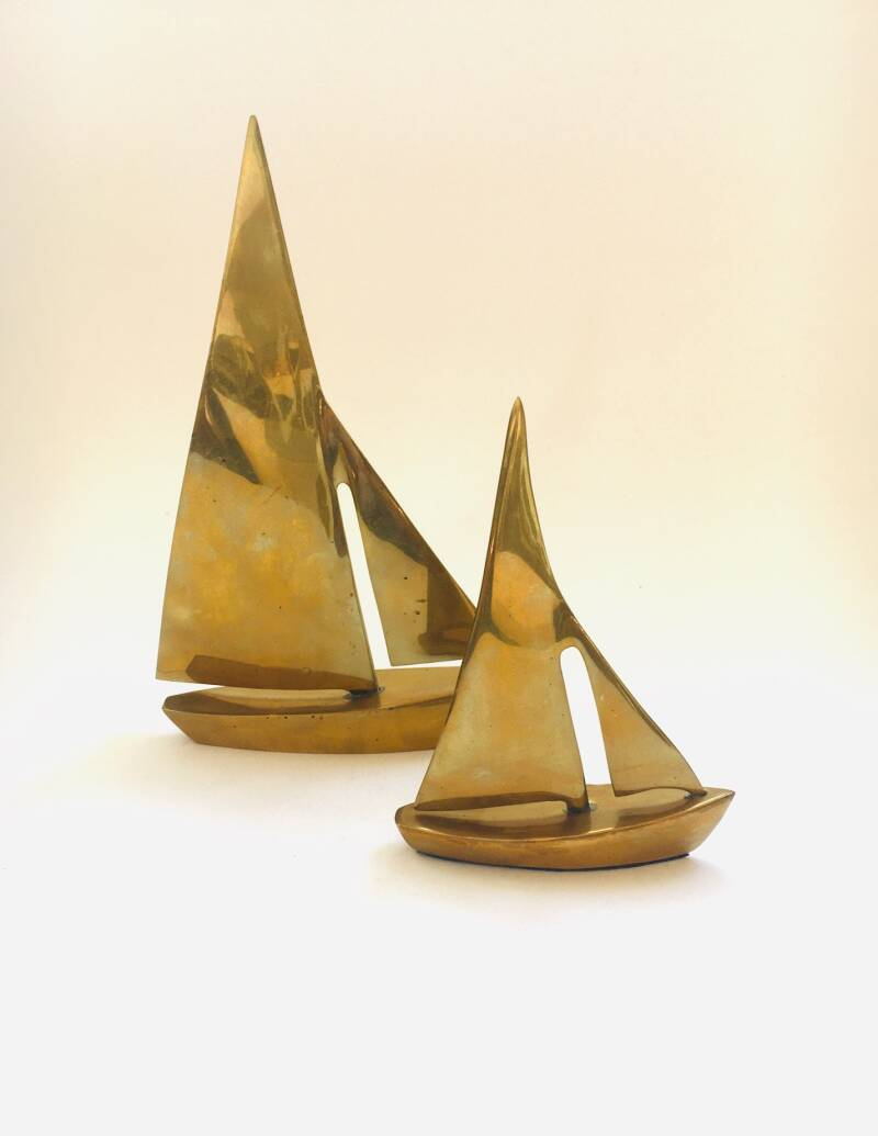 Hollywood Regency Style Brass set of Sailing Boats 1970's
