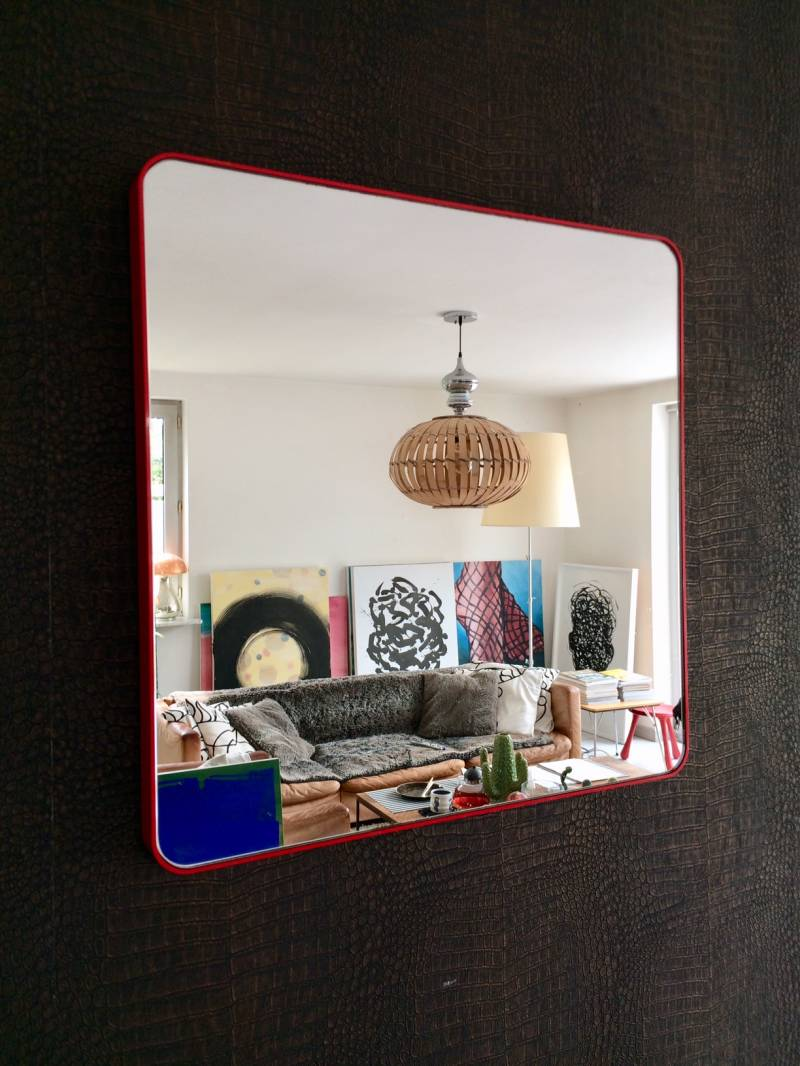 Vintage Gedy square mirror 1980's Design Italy