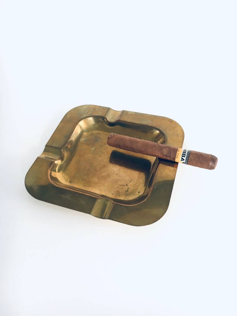 Vintage Solid Brass Square Design Sigar Ashtray 1970's