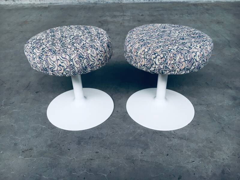 Vintage MCM Design set of 2 Low Tulip Stools 1970's