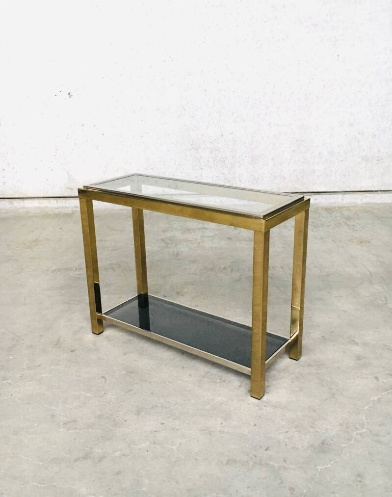 Hollywood Regency Style Brass & Chrome Two-Tier Console Table by Belgo Chrom 1970's