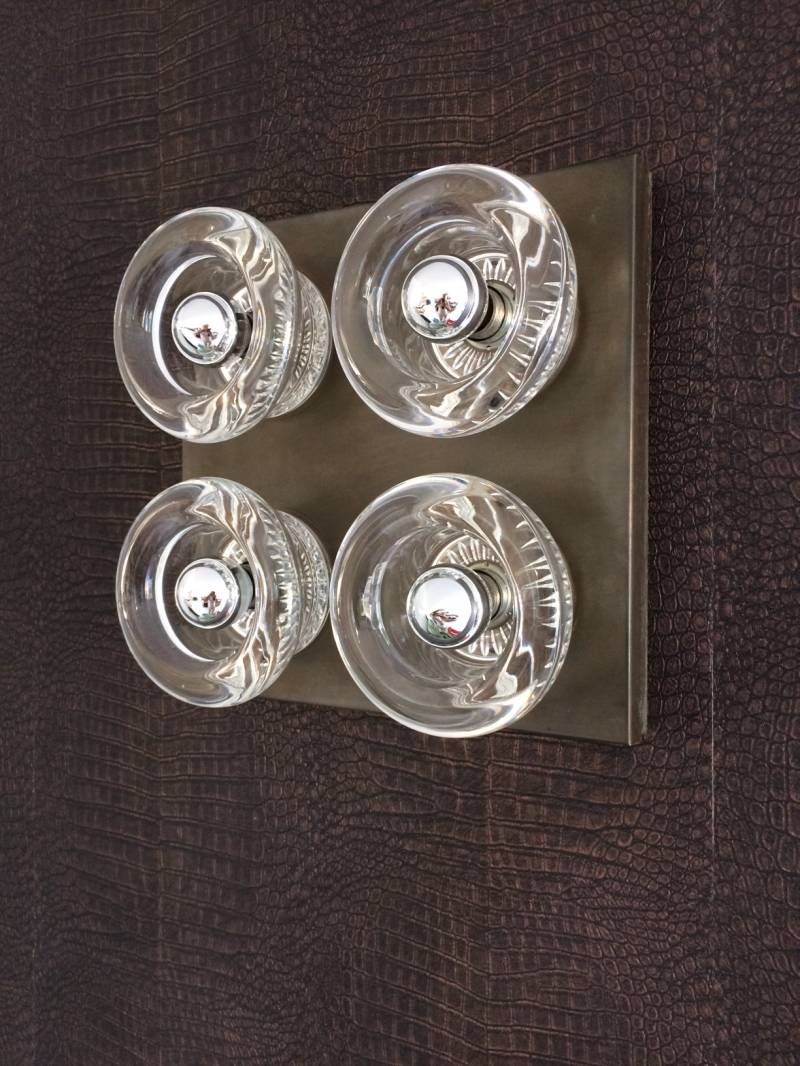 Cosack Leuchten Design 1960's Ice Cubes Glass Sconce Wall Light Germany