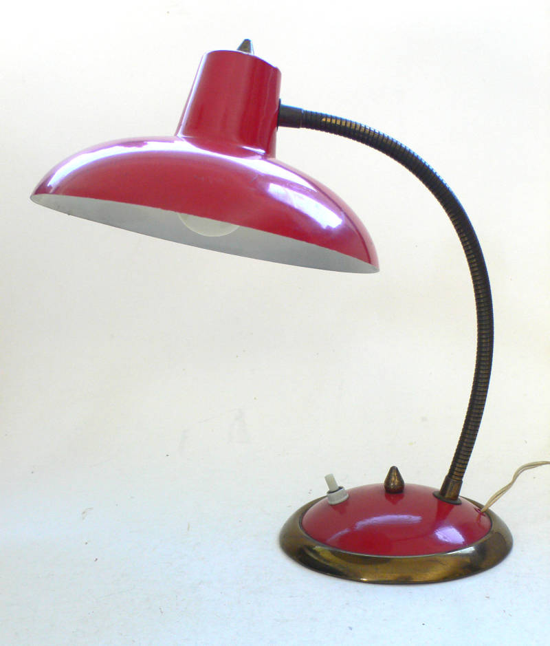 Midcentury 1950's Vintage Design Desk Lamp Italy Red