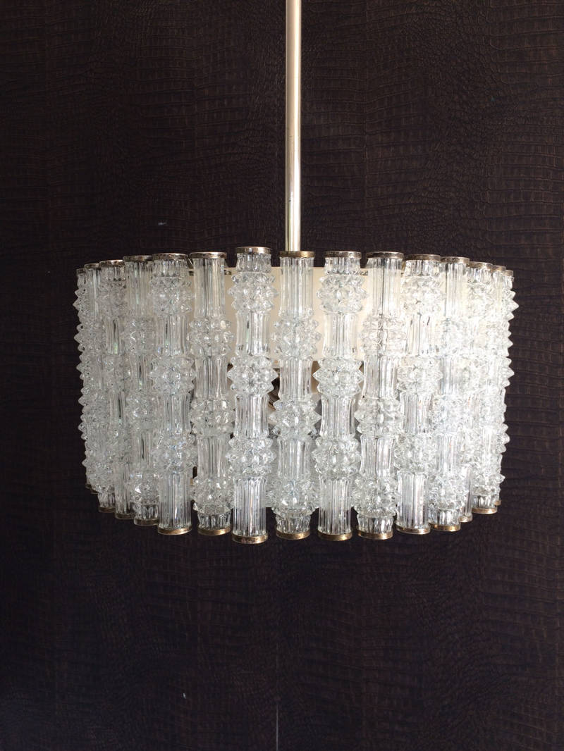 1950's Kaiser Leuchten Design Primat Ice Texture Crystal Drum Chandelier Ceiling Lamp