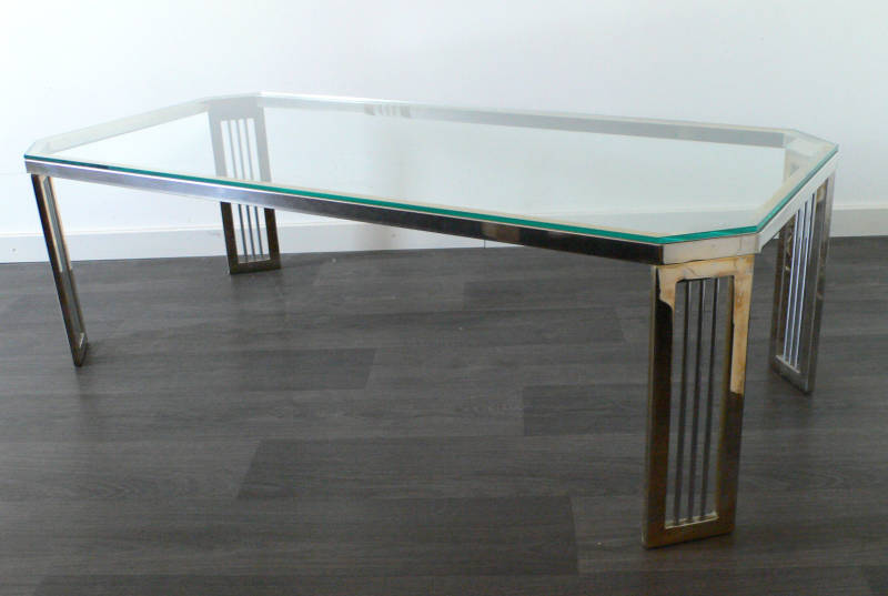 Midcentury 1980's Design Hollywood Regency Brass & Glass Coffee Table