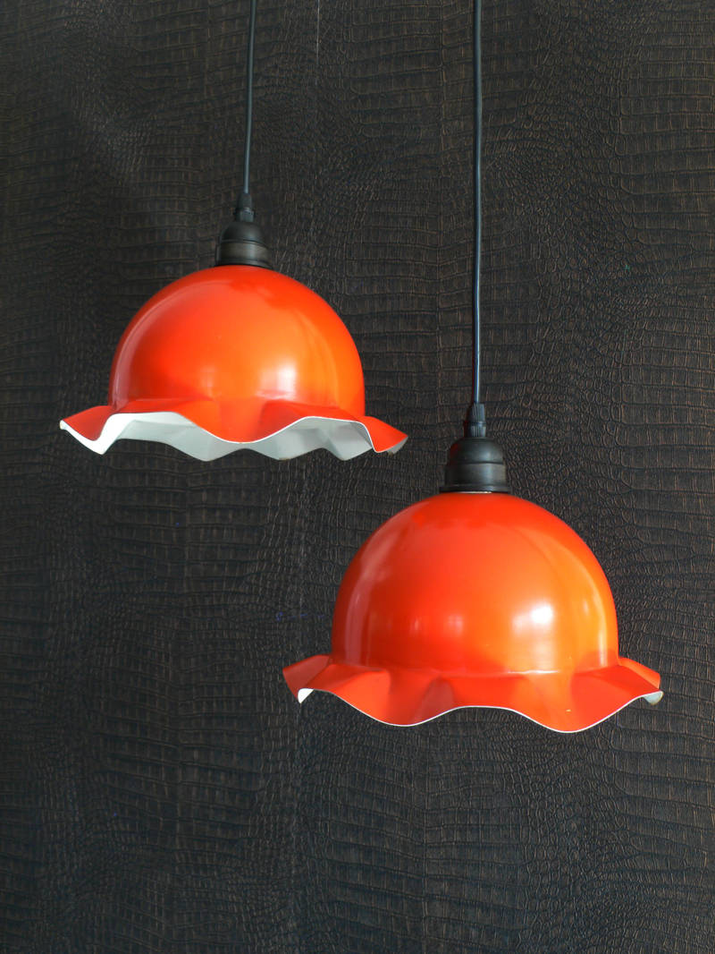 Pair of 2 vintage orange pendant metal Flower Cap Hanging Lamp 1970's
