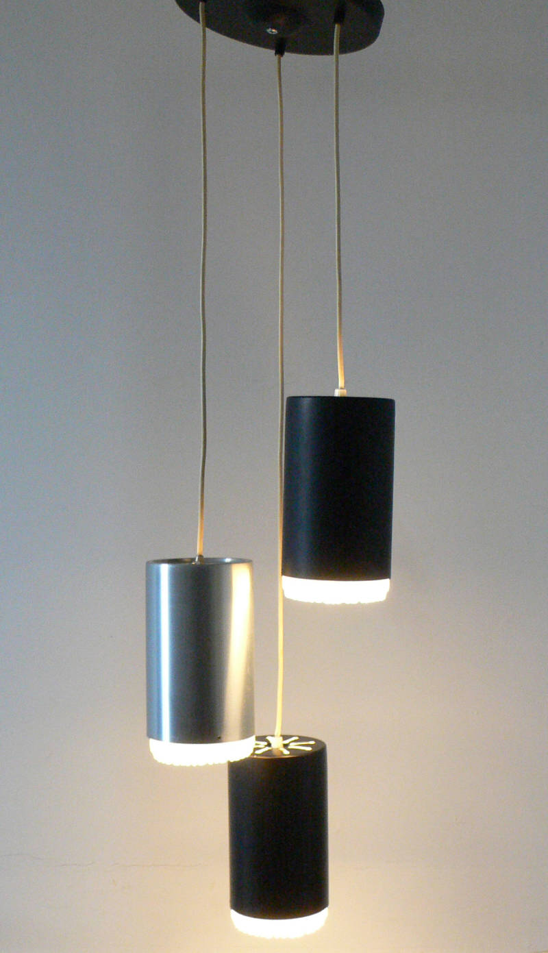 Midcentury 1970's Design Hanging 3 Cylinder Pendant Lamp by Raak