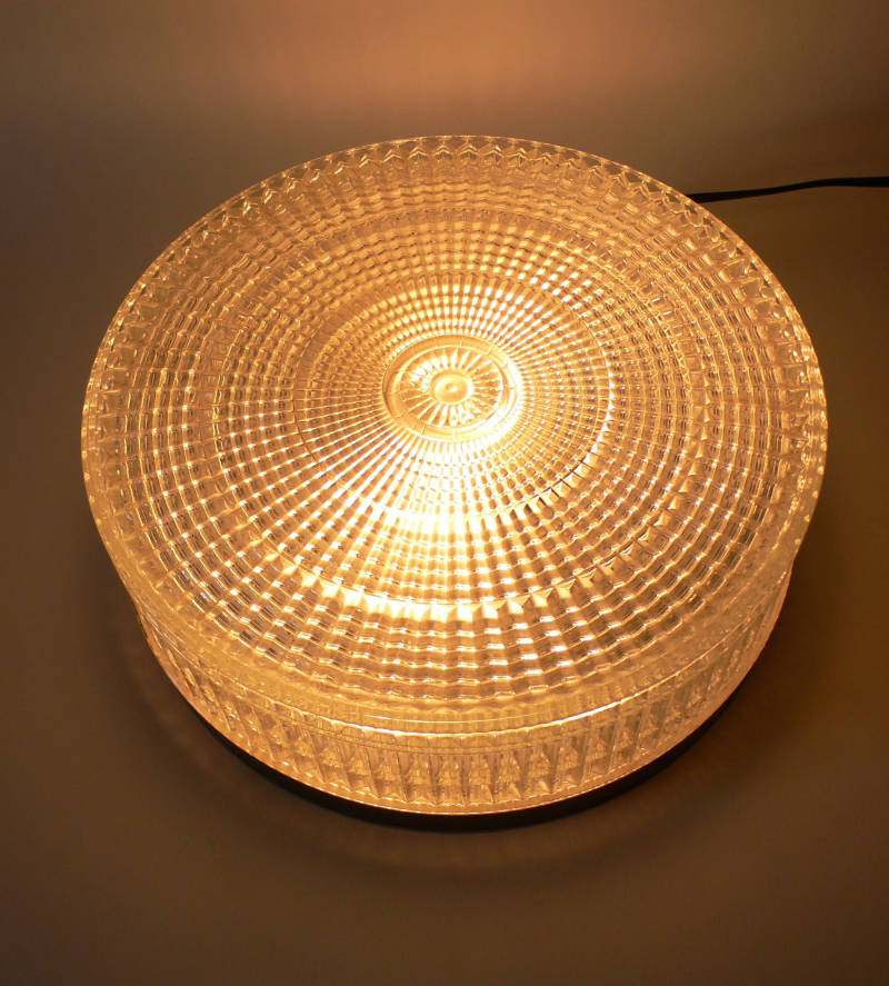 Midcentury 1960's Design Large Flush Mount Wall or Ceiling Cristal Glass Lamp